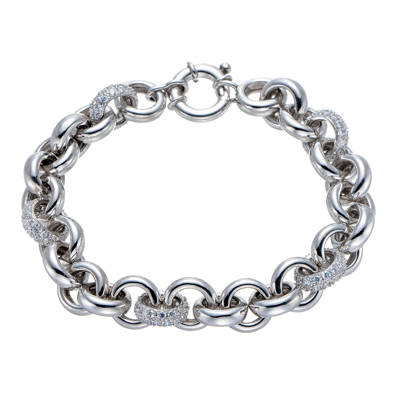 Review Cubic Zirconia Rhodium Over Sterling Silver Bracelet Natural charm fine jewelry for women plain bangle jewellery