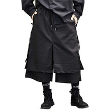 Pantaloni da uomo stile giapponese Kimono gonna pantaloni moda maschile casual Harem pantaloni Stage Wear pantaloni gamba larga Punk costumi Hip Hop