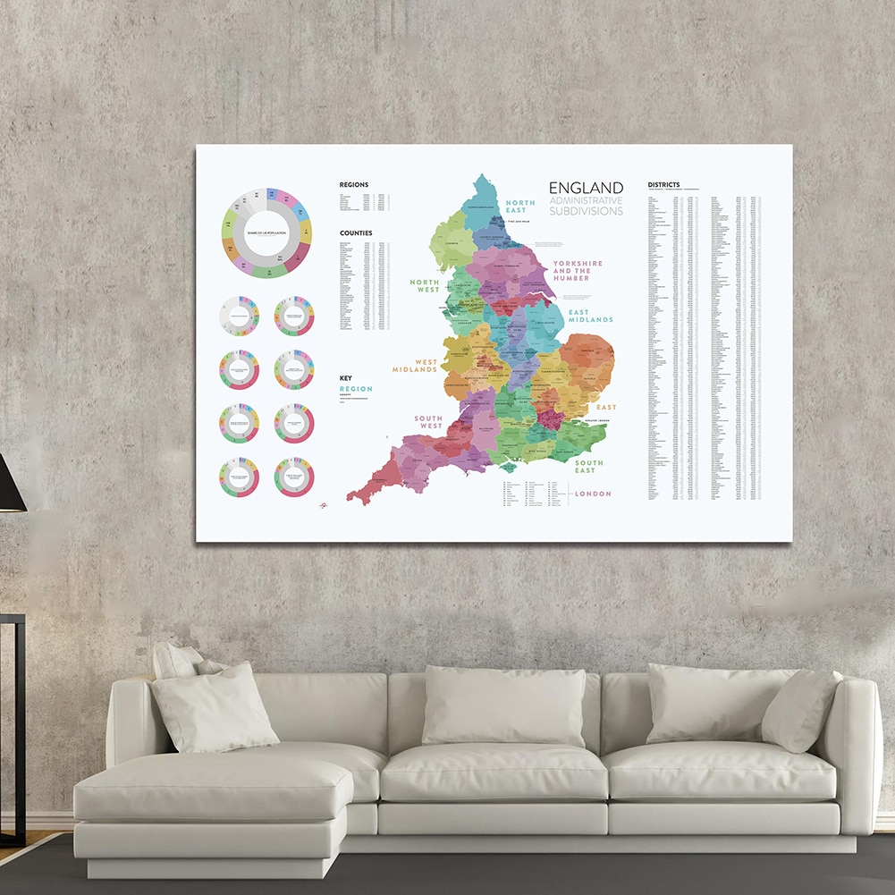 225*150 Cm The England Administrative Subdivisions Map Non-woven Canvas Painting Large Poster Home Decoration School Supplies