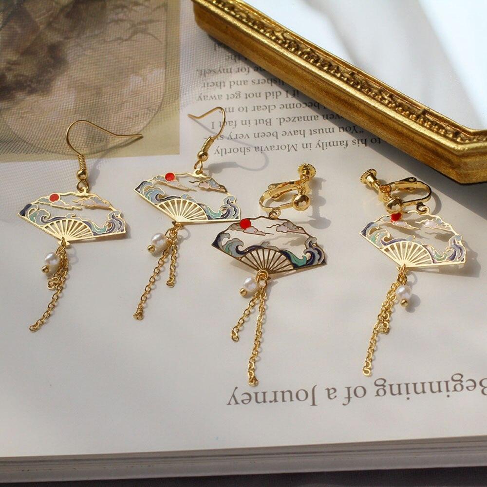 Planeta balançar brincos assimétrico estrela lua brincos longos para as mulheres moda simples jóias estilo coreano brincos