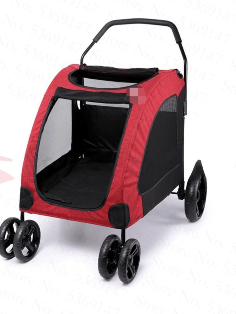 Gran mano empuje carro para mascota de alta calidad final del cochecito plegable de cuatro ruedas de carro