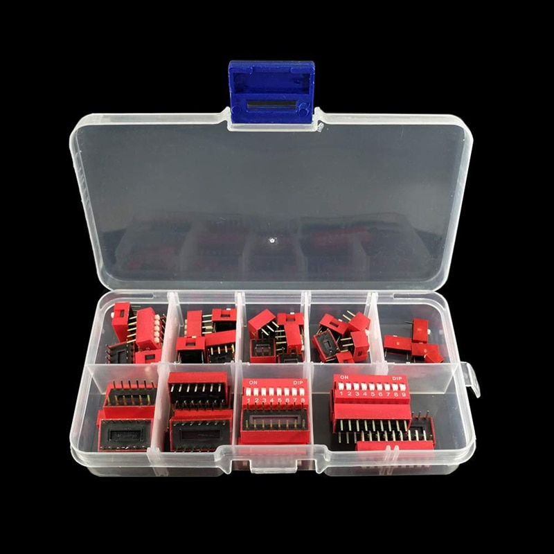 45PCS/LOT Dip Switch Kit 1 2 3 4 5 6 7 8 9 Way 2.54 mm Toggle Switch Red Snap Switches Mixed Kit Each 5PCS Combination Set