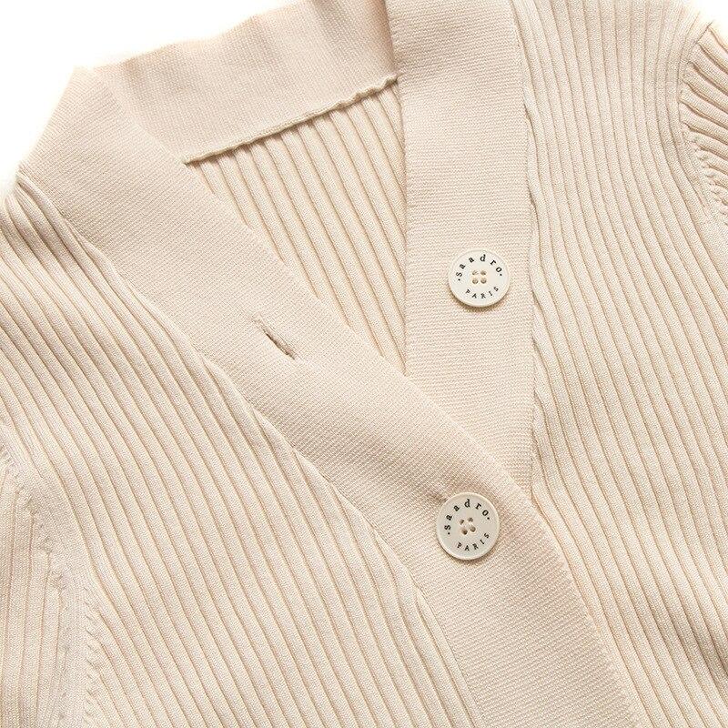 Новинка 2021 г., семейный облегающий однобортный свитер fam s для весны и лета, женский кардиган с V образным вырезом