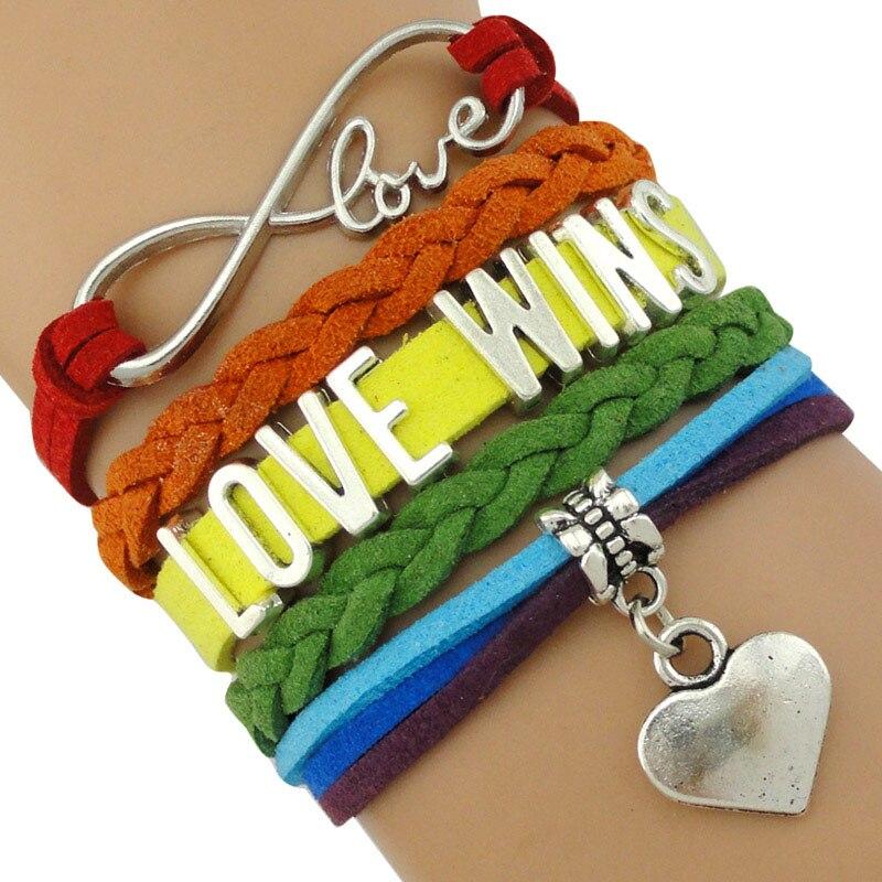 Pulseras para mujer con arcoíris, sigue tu corazón, amor infinito, gana, GLBT, derechos de hombre, profesor, corriendo, Orgullo LGBT