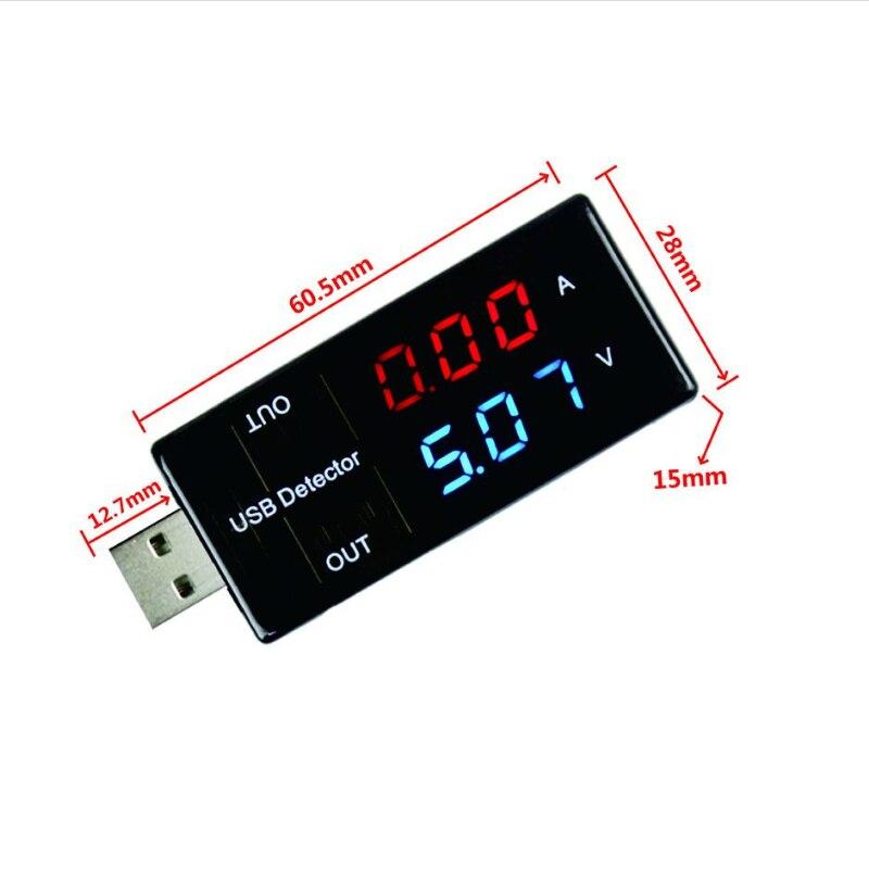 Detector USB de carga de voltaje actual, corriente de energía móvil y voltímetro, amperímetro, Cargador USB de voltaje, muestra el probador de doble fila