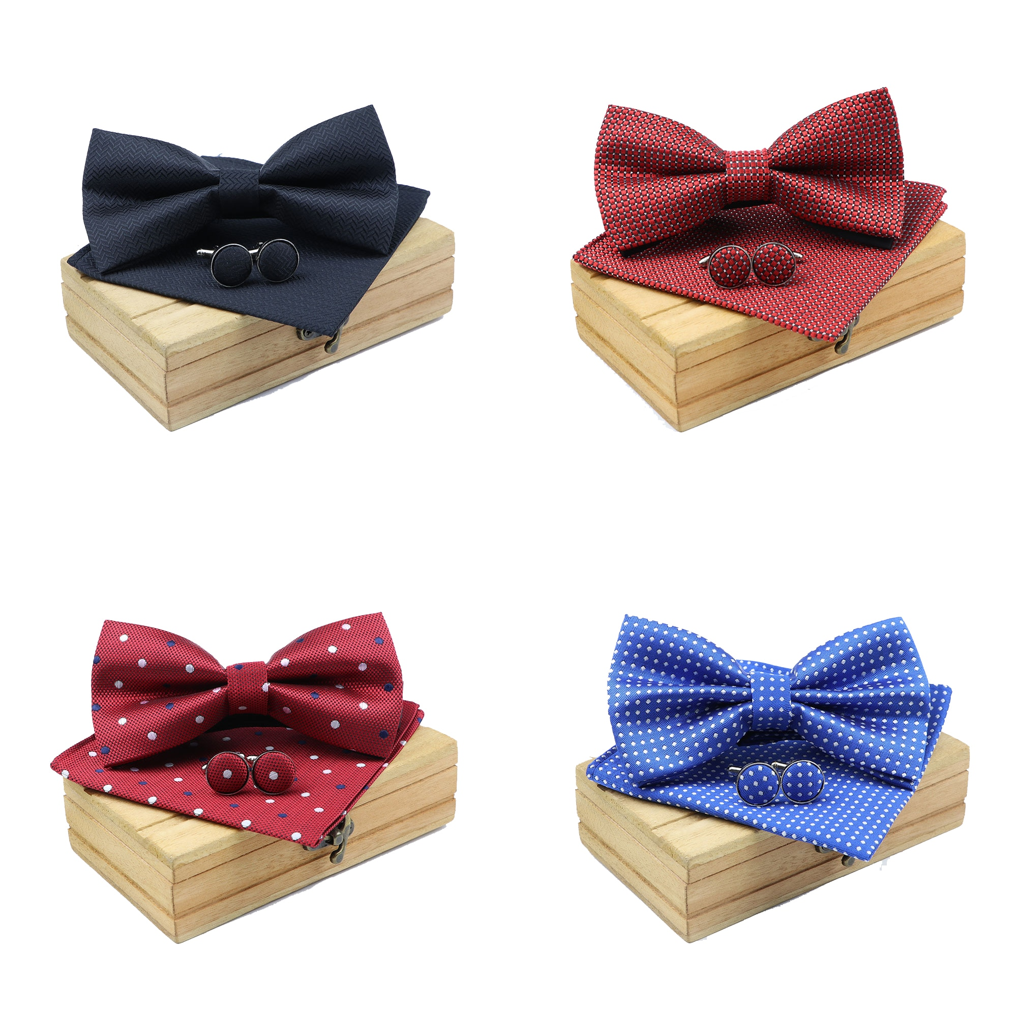 Men Bowtie Cravat Cufflinks 3Pcs Set Fashion Butterfly Party Wedding Bow Ties Solid Color Dots Bowknot Handkerchief Without Box