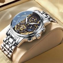 Reloj deportivo de lujo para hombres, cronógrafo de cuarzo, de marca superior de acero inoxidable, a la moda, resistente al agua, nuevo, 2021