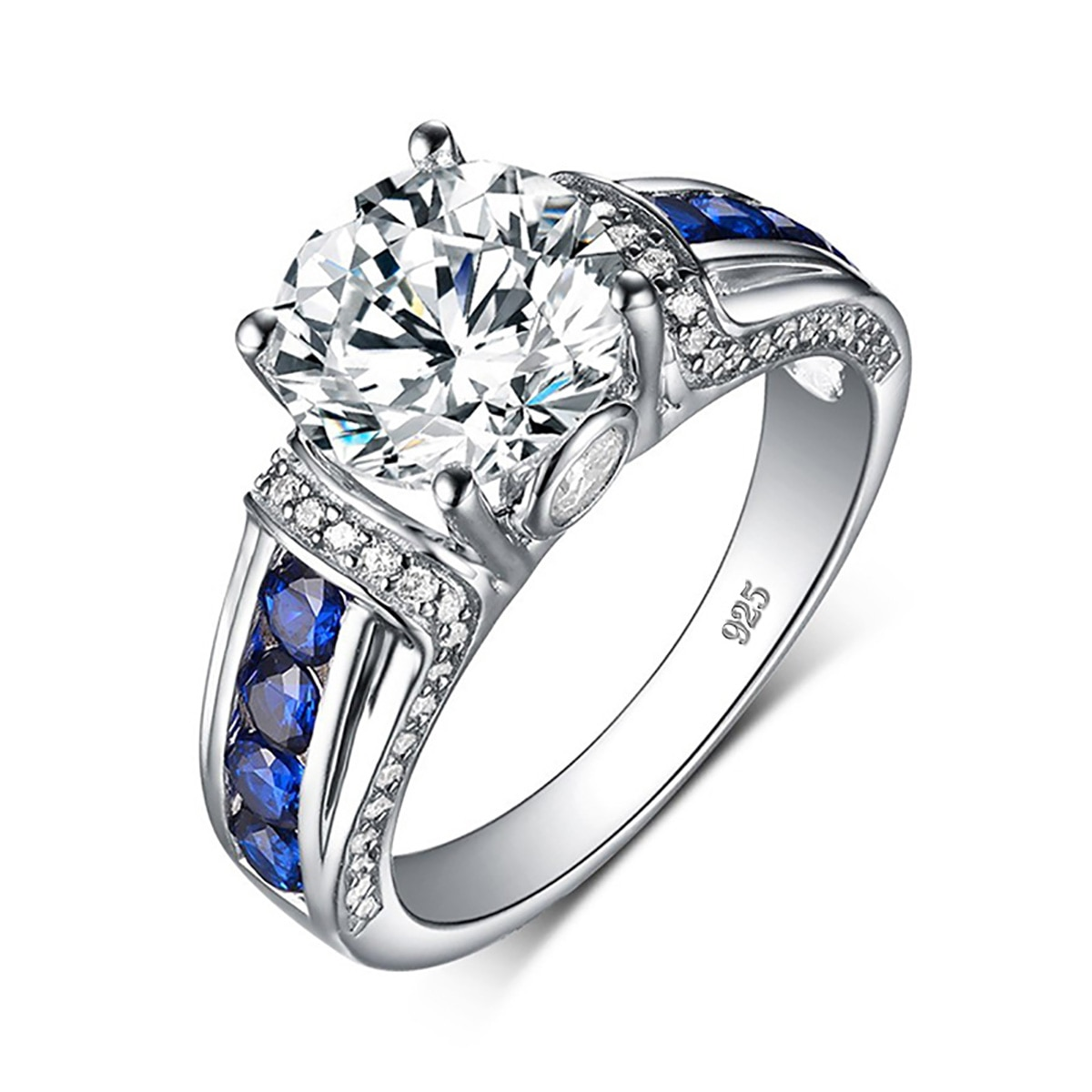 RedWood Brand 2ct Real Moissanite Ring For Women Real 925 Sterling Silver 14K White Gold Plated Diamond Ring  Wedding Jewelry
