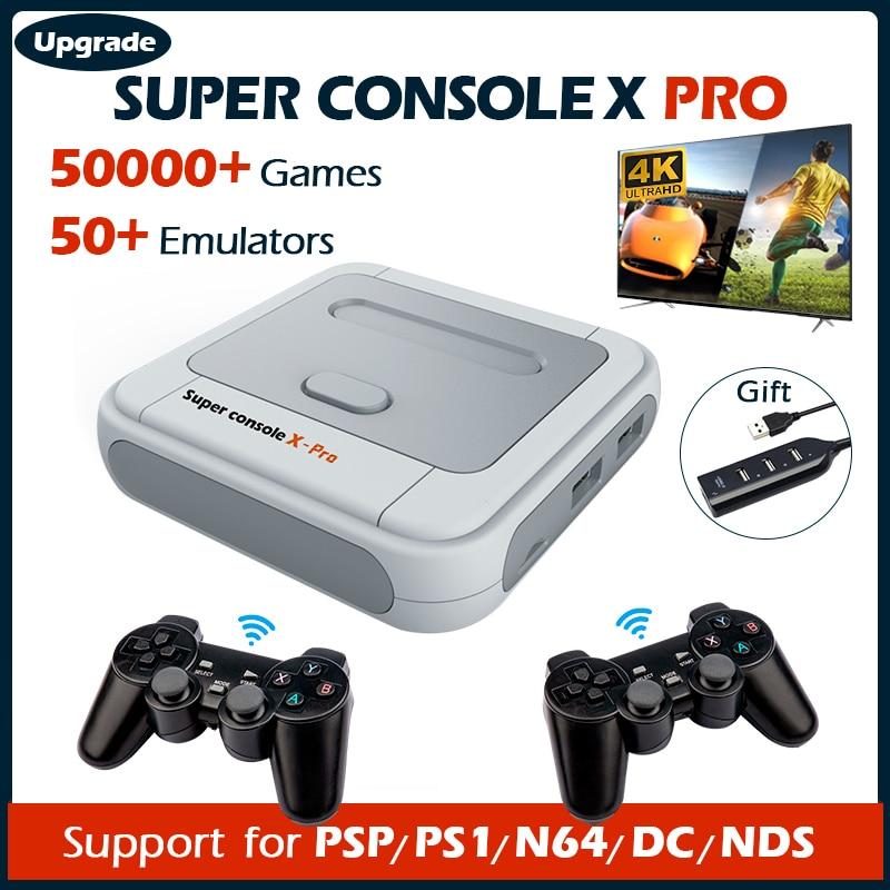 Супер консоль X Pro видео игровые консоли 4K HD Ретро Wi-Fi ТВ приставка игровые плееры для PSP/PS1/DC/N64 50000 + игры с 50 + эмулятором