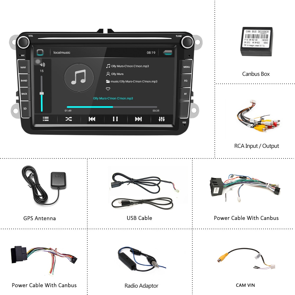 Podofo 2 Din Android Car Radio GPS  2 DIN Autoradio Car Multimedia player for VW Volkswagen Polo Skoda Seat Toledo Car Stereo