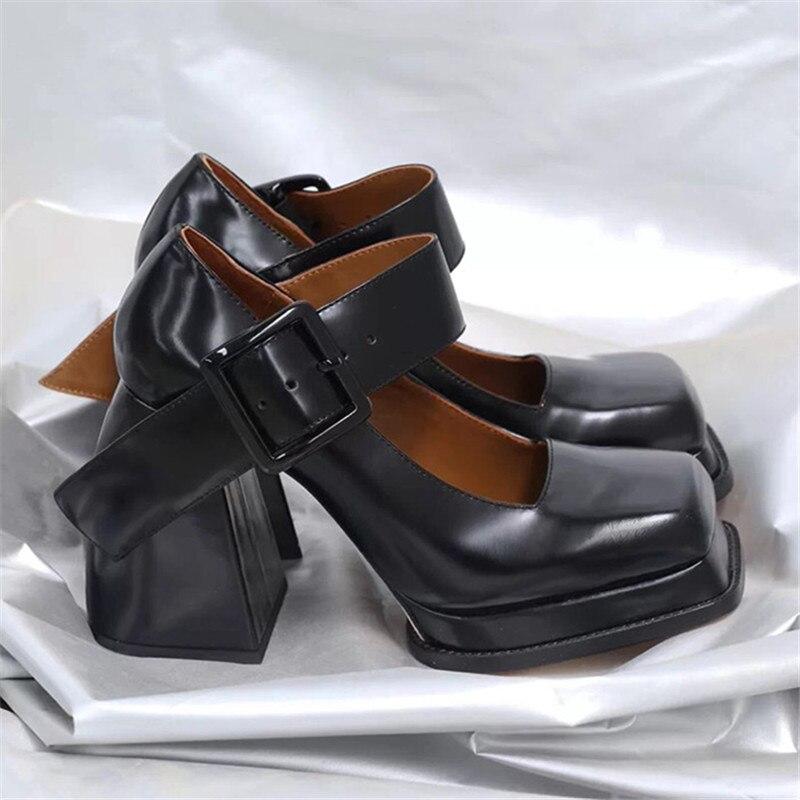 حذاء ماري جينس بكعب عالٍ للنساء ، حذاء منصة ريترو بمقدمة مربعة ، فستان حفلة موسيقية ، مجموعة جديدة 2021