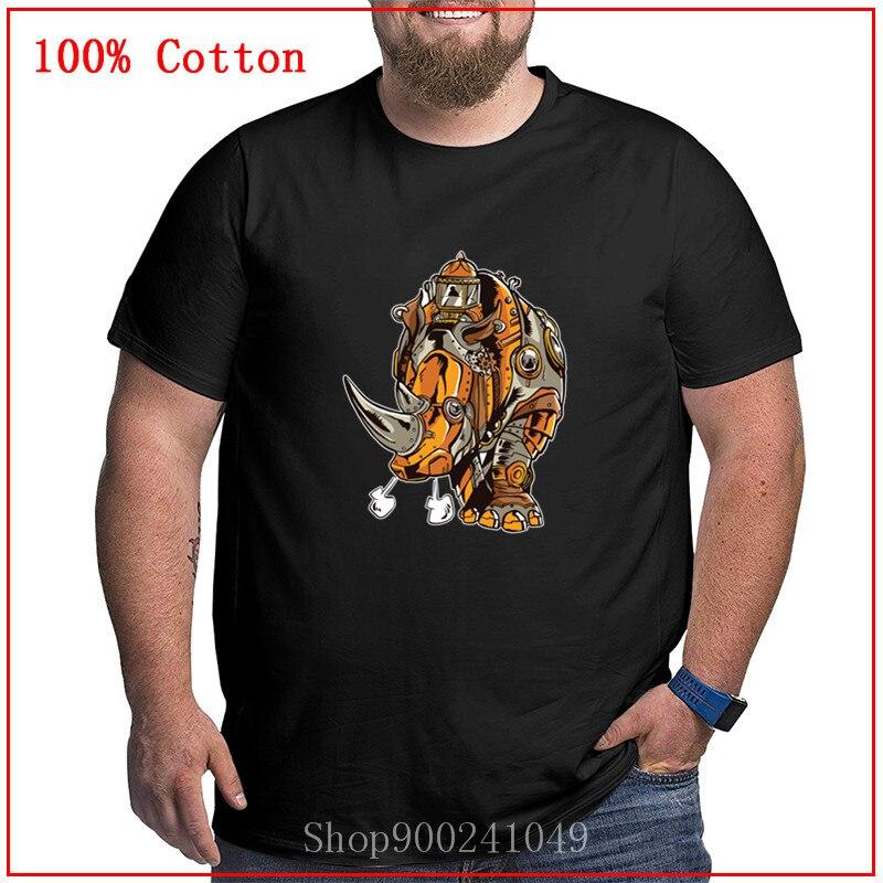 Novedosa camiseta con diseño de Animal, camiseta de manga corta STEAMPUNK con rinoceronte para hombre, camiseta de talla grande, ropa grande 4XL 5XL 6XL