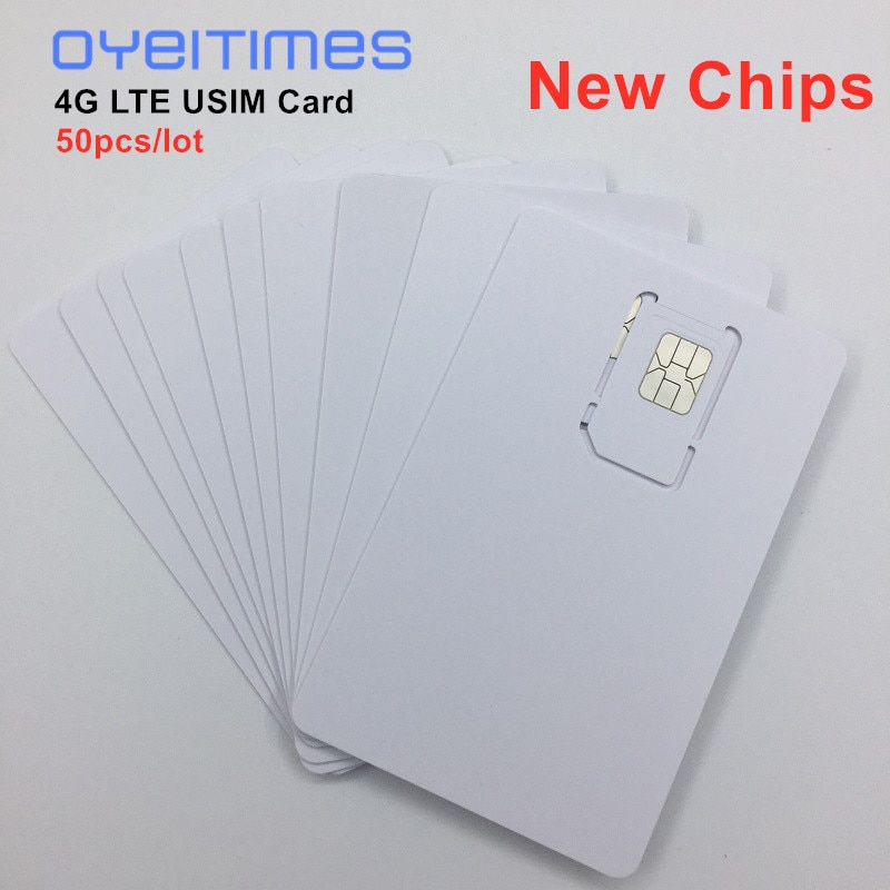 50pcs/lot Writable Programable Blank SIM USIM Card 4G LTE WCDMA GSM Nano Micro SIM Card with Micro Nano Size 2FF 3FF 4FF 3 IN 1