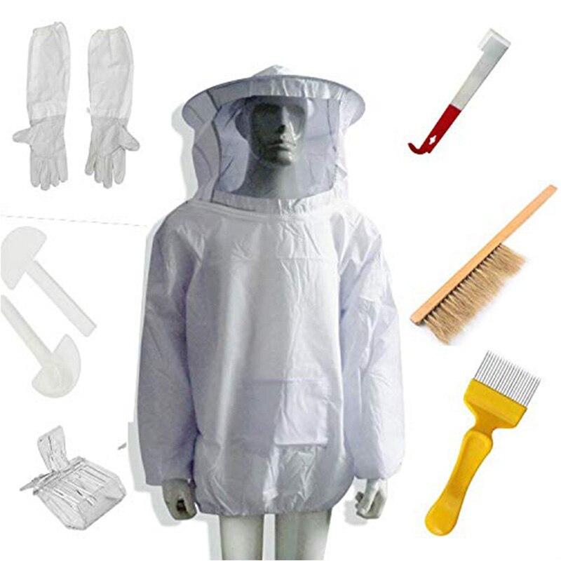 تربية النحل النحال دعوى النحل سترة قفازات خلية النحل فرشاة J هوك أداة النحال مجموعة 8 أطقم