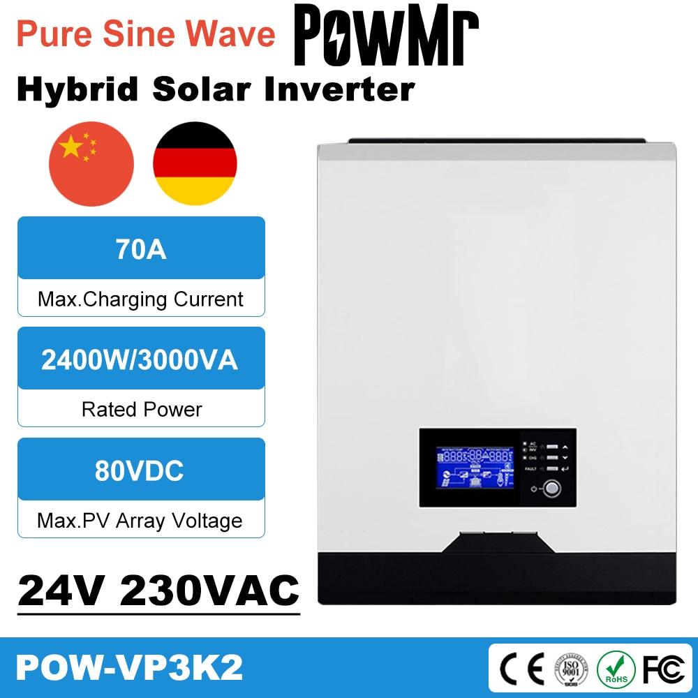 PowMr عاكس شمسي هجين 3KVA 2400 واط 24VDC 230VAC المدمج في 50A PWM الشمسية جهاز التحكم في الشحن واي فاي رصد الطاقة الشمسية Inversor