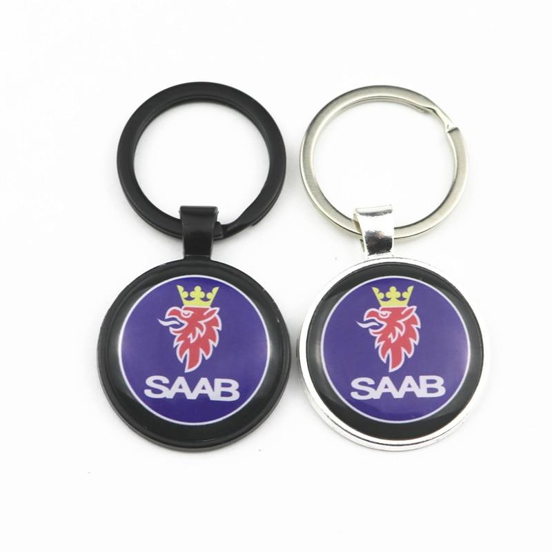 Excelente anel chave do carro do metal 3d para saab 9000 900 428 03-10 9-3 9-5 93 95 emblema chaveiro acessórios do carro chaveiro