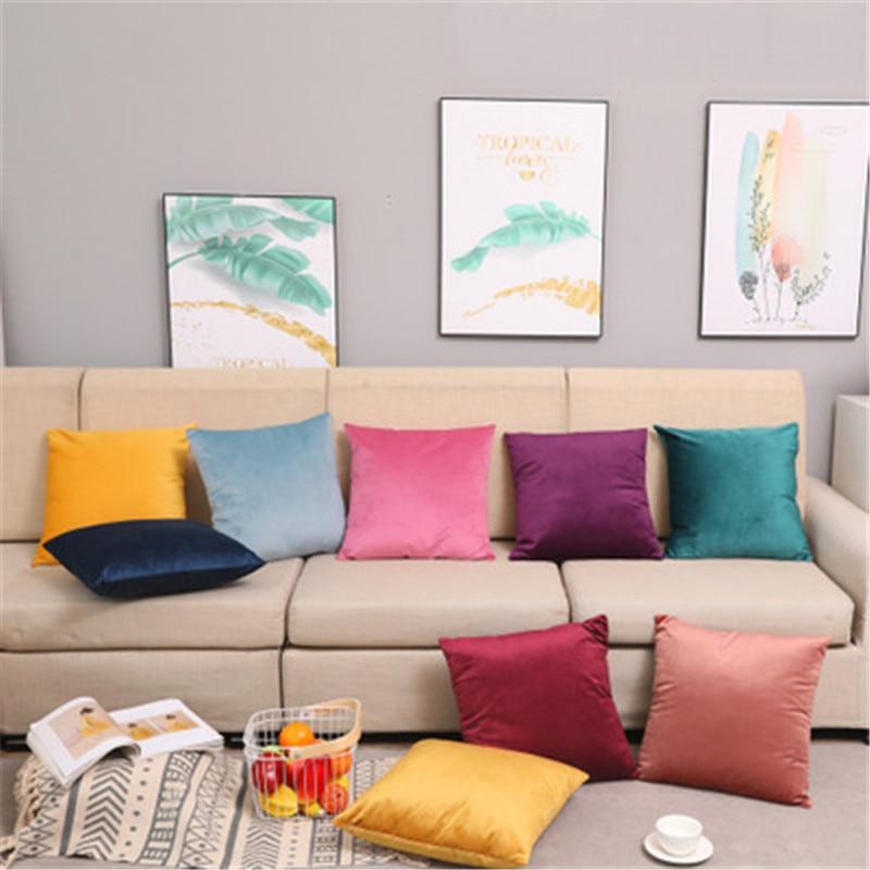 Funda de cojín de sofá elástica 45*45, funda de almohada azul para uso en la vida, conjunto funda de almohada decorativa para niños