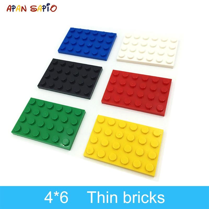 20 шт. строительные блоки «сделай сам» тонкие фигурки кирпичи 4x6 точек 12 видов цветов развивающие креативные совместимы с брендовыми игрушка...