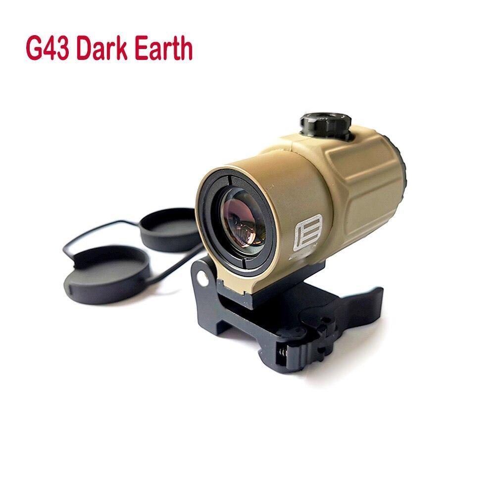 عدسة مكبرة تكتيكية G43 3x مع مفتاح ، حامل QD ، مناسب لبندقية سكة 20 مللي متر ، الأرض الداكنة
