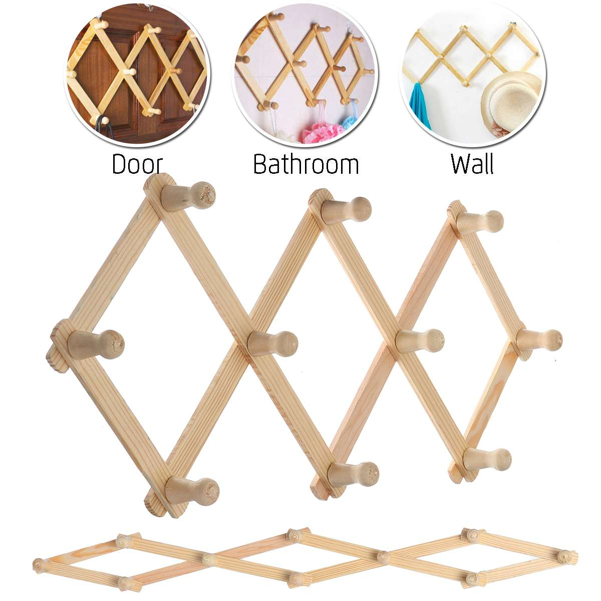Wooden Simple Style Bedroom Furniture Wall Hanger Bamboo Coat Rack Clothes Hanging Hooks Living Room Coat Hanger Wall Hook