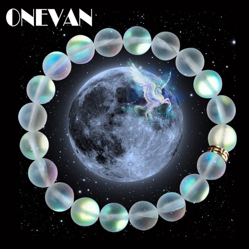 Pulseras de piedra lunar de cristal de sirena, pulsera de abalorios de piedra brillante mate Multicolor, pulsera hecha a mano, regalos de joyería