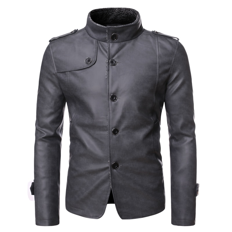 Mens Leather Jacket Single Breasted Casual Coat Men