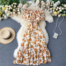 2020 Boho Summer Print Dress Women A-line Ruffle Vestidos High Waist Slash Neck Chiffon Dresses Sexy Beach Holiday Long Dress