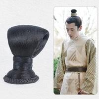 black taoist priest warrior swordsman cosplay hair accessories vintage hairstyling prince chignon bun chancellor headdress