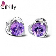 CiNily minimaliste amour boucles doreilles solide 925 en argent Sterling Violet Violet coeur Mini boucle doreille avec pierre coréenne bijoux femme