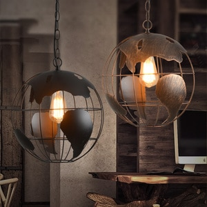 Loft Retro Earth Globe Industrial Iron Vintage Chandelier Pendant