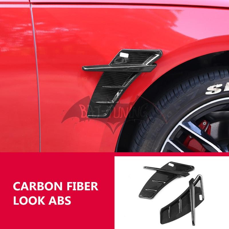 2X ألياف الكربون نظرة الجانب ملصقا لأودي A3 8V A4 B8 B9 A5 A6 C6 C7 C8 Q3 Q5 Q7 ABT Sportsline ABS سيارة الهواء تنفيس تقليم Bodykits