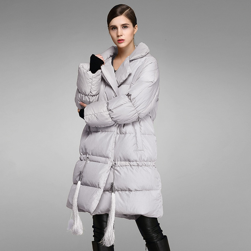Women down coats luxury autumn winter warm fashion 90% white duck Jackets Female lady long puffer down jacket hooded grey