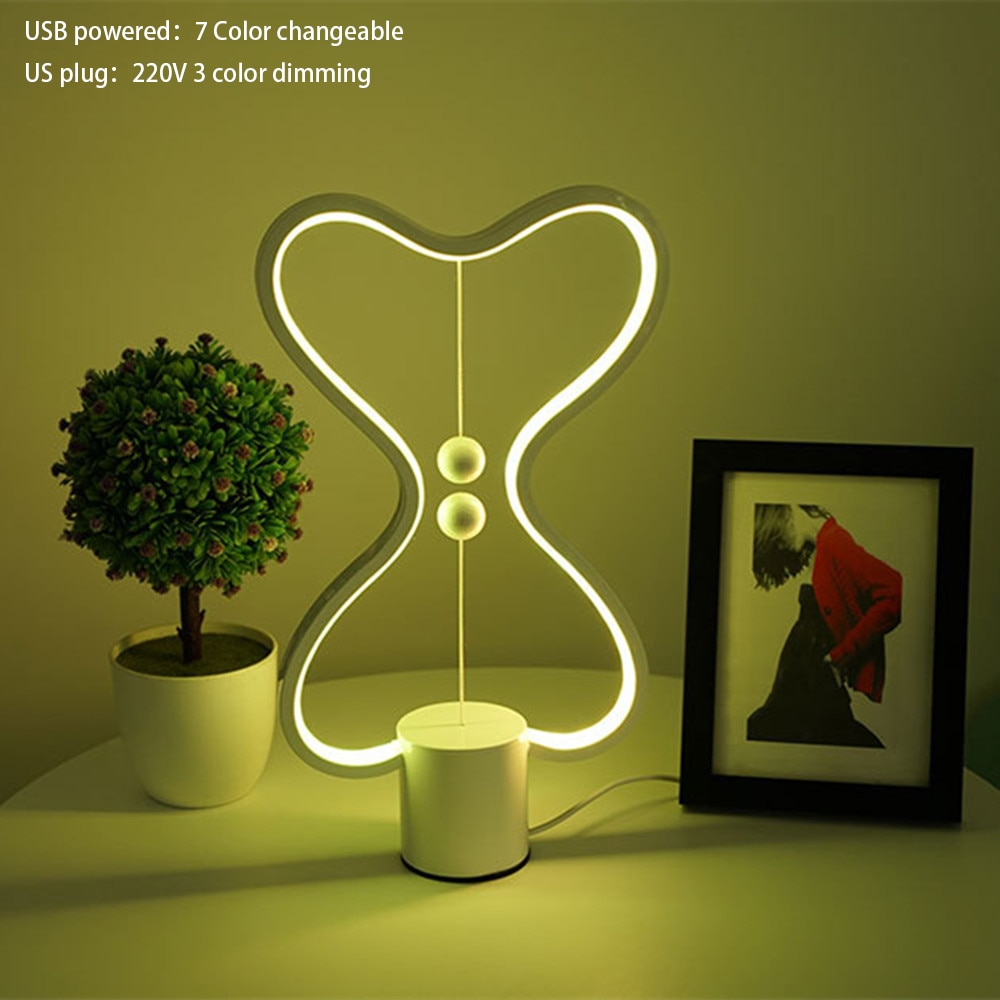 7 Color Changeable Heng Balance Lamp USB Powered Home Decor Bedroom Office Kids Lava Lamp Children Gift Christmas Night Lamp