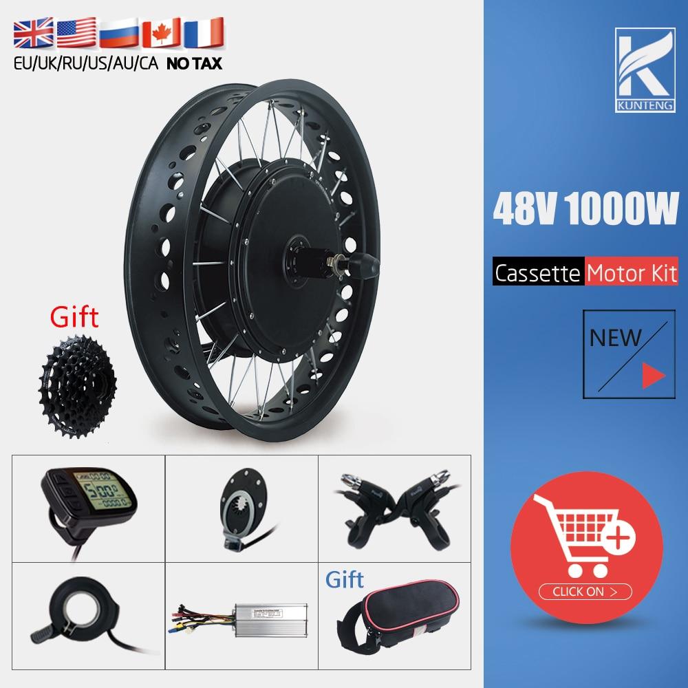 Electric Bicycle Conversion Kit KT Fat Bike 20 26 Inch 4.0 Tire 48V 1000W Rear Cassette Wheel Hub Motor Kit For Snow Ebike