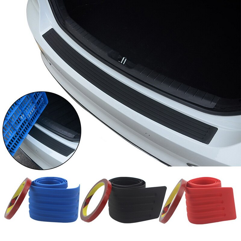 90*8cm Car Trunk Door Sill Plate Protector Rear Bumper Guard Protector Rubber Pad Trim Anti-Scratch Cover Strip Accessories