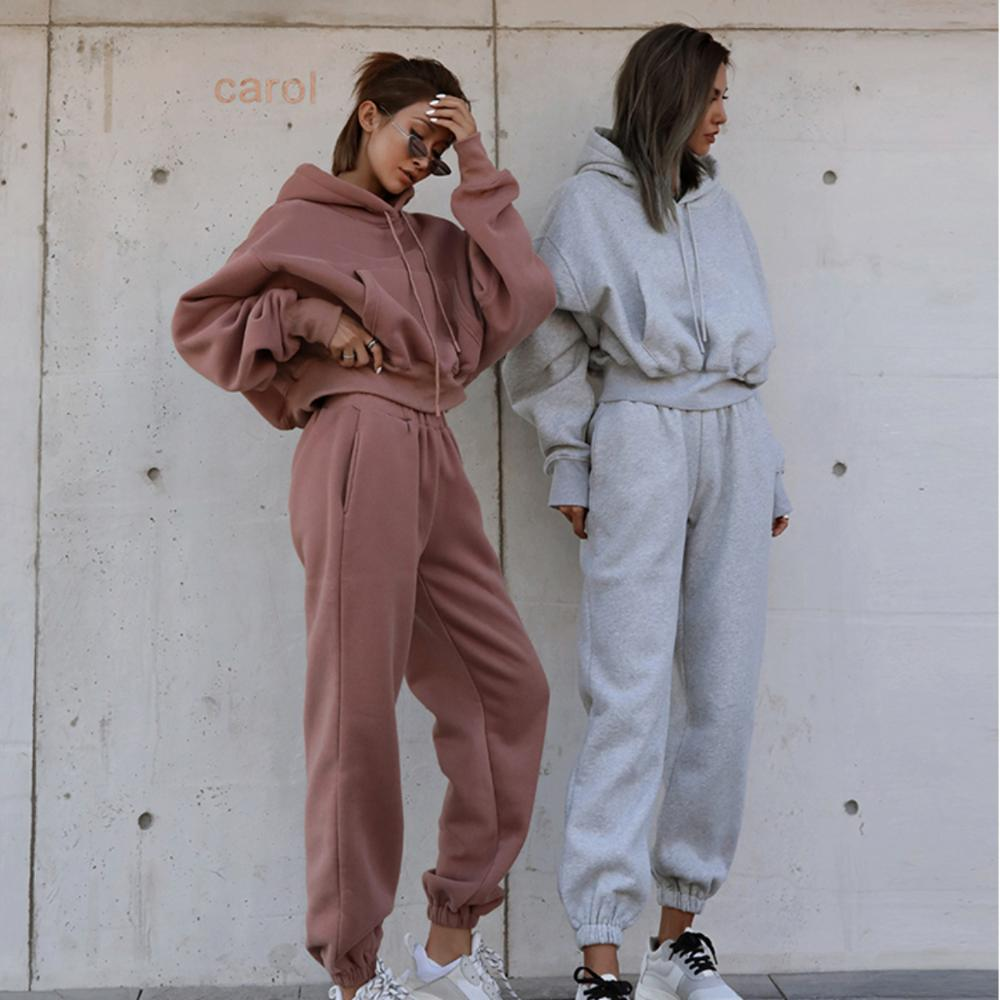 Новинка 2021, женские комплекты, осенне-зимний однотонный французский Повседневный пуловер с высокой талией, уличная мода, женские комплекты ...