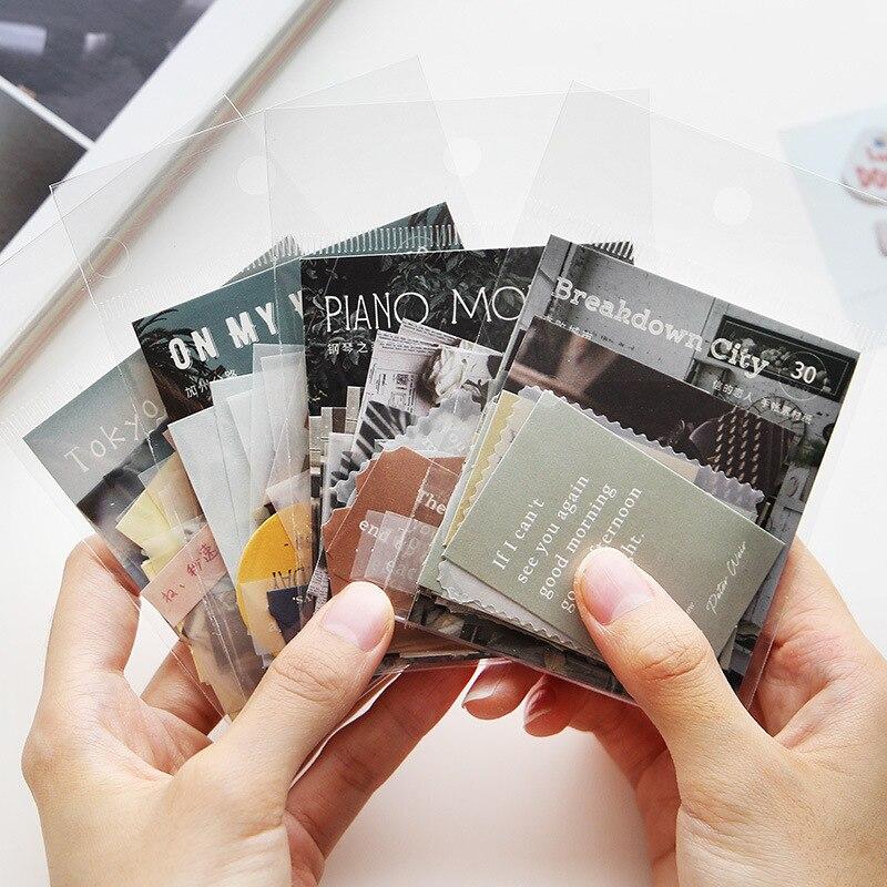30-pz-pacco-adesivi-decorativi-adesivi-diario-srapbooking-diario-artigianale-album-adesivi-di-cancelleria