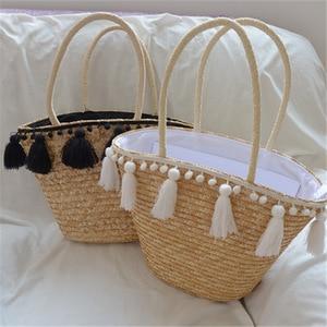 2021 Fashion New Tassel Handbag High Capacity High Quality Straw Bag Women Beach Woven Bag Tote Fringed Beach Woven Shoulder Bag