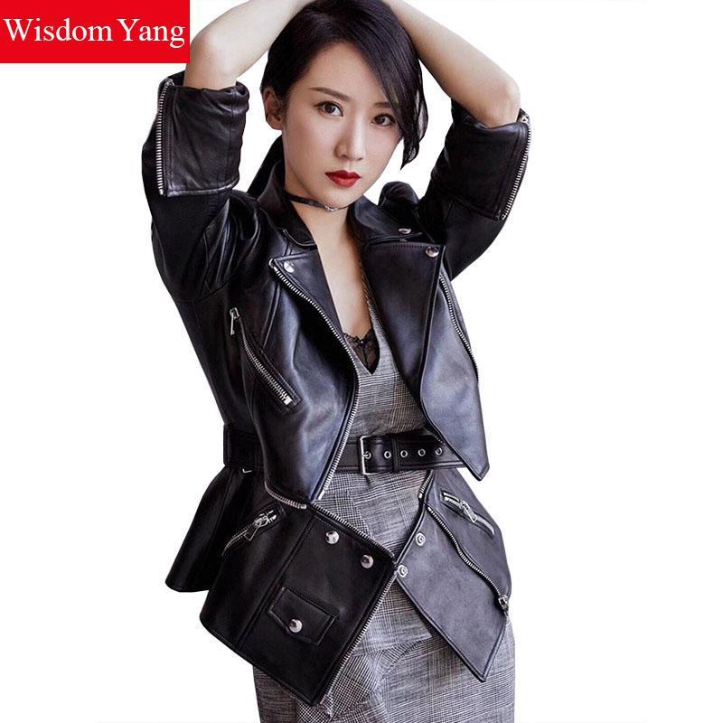Autumn Black Sheepskin Leather Coat Jackets Genuine Motorcycle Jacket Womens Tops Ladies asymmetrical Coats Overcoat Outerwear