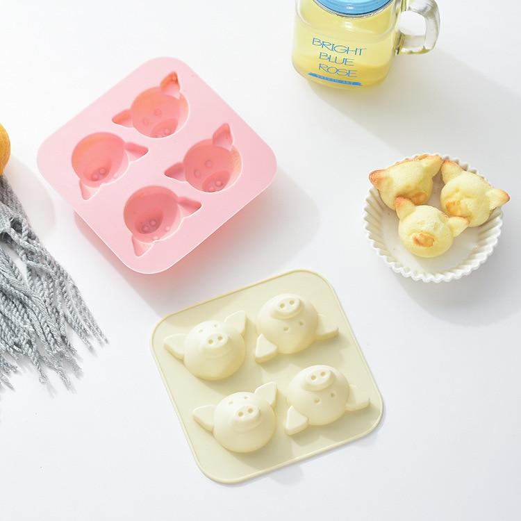 4 Uds cerdo lindo molde de pastel de silicona torta de arroz al vapor molde de pastel, de Chocolate cubo de hielo molde del jabón hecho a mano