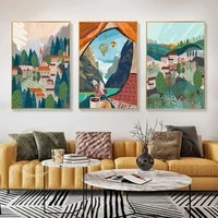 abstract hot air balloon town mountain canvas painting wall art nordic posters and prints wall pictures for living room decor