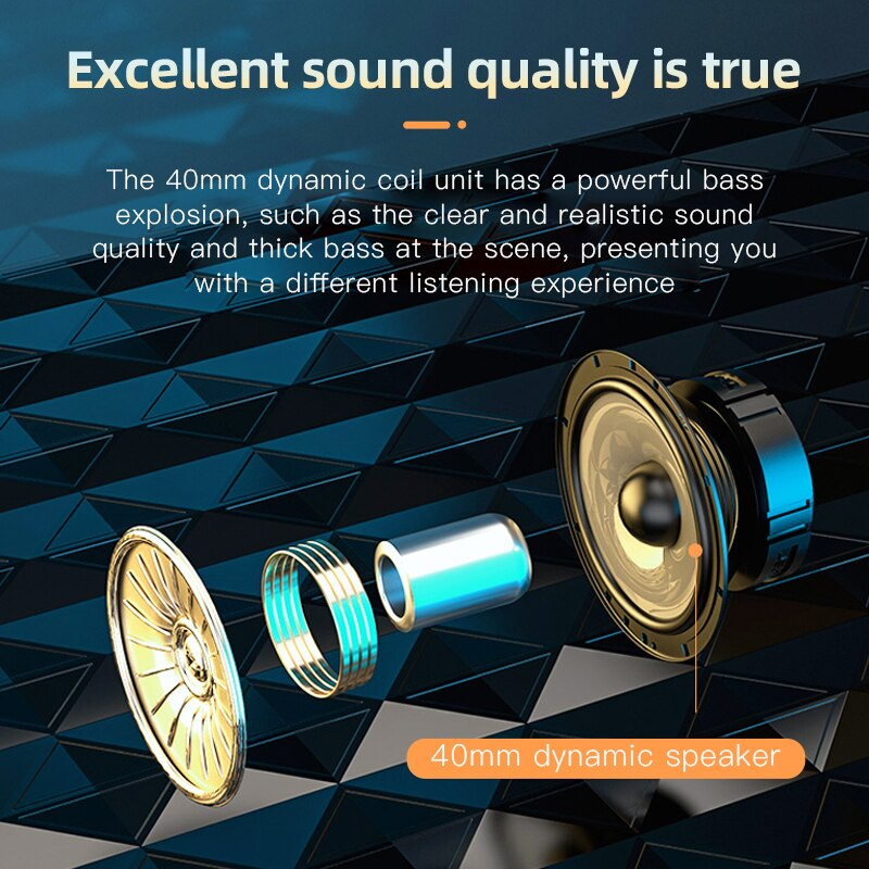 HiFi Wireless Headphones Bluetooth Foldable Headset Support TF Card/FM Radio/Bluetooth AUX Stereo Headset With Mic Deep Bass enlarge