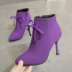 Fashion Women Autumn Winter Ankle Boots Sexy Pointed Toe High Heels Short Boots Purple Zip elastic fabric Female Party Shoes New