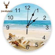 Horloge murale de plage en PVC   Coquille de poisson étoile de mer dété, Design moderne, décor de maison, chambre à coucher, horloge silencieuse pour salon