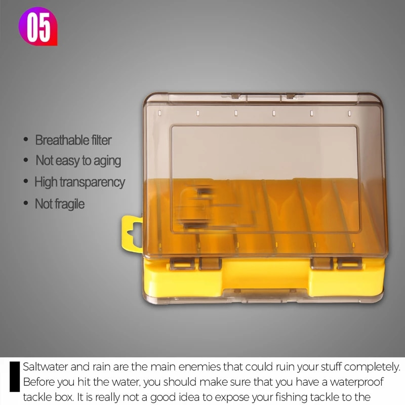 Doublex Sided Fishing Tackle Box 12 Compartments Bait Lure Hook Storage Box Fishing Accessories Plastic Storage Case enlarge