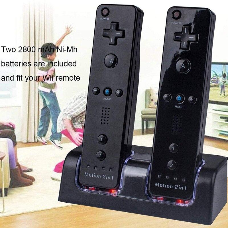 Dupla da Doca de Carregamento com Duas Carregador para o Controlador Remoto de Wii Estação Baterias Recarregáveis 2800mah