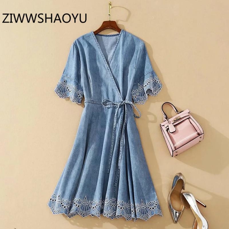 ZIWWSHAOYU, Vestido vaquero azul con cuello en V para mujer, diseñador de pasarela, cinturón de lazo bordado, moda informal, minivestidos 2020
