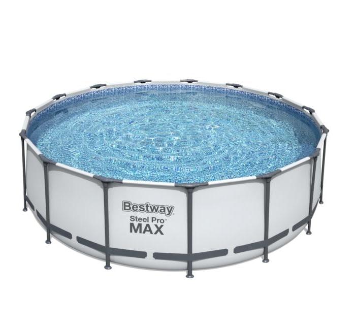 Bestway 56438 4.57 متر x 1.22 متر/15 'x 48' سهلة تعيين فوق الأرض حمام سباحة Poolmetal سعة كبيرة تجمع المياه