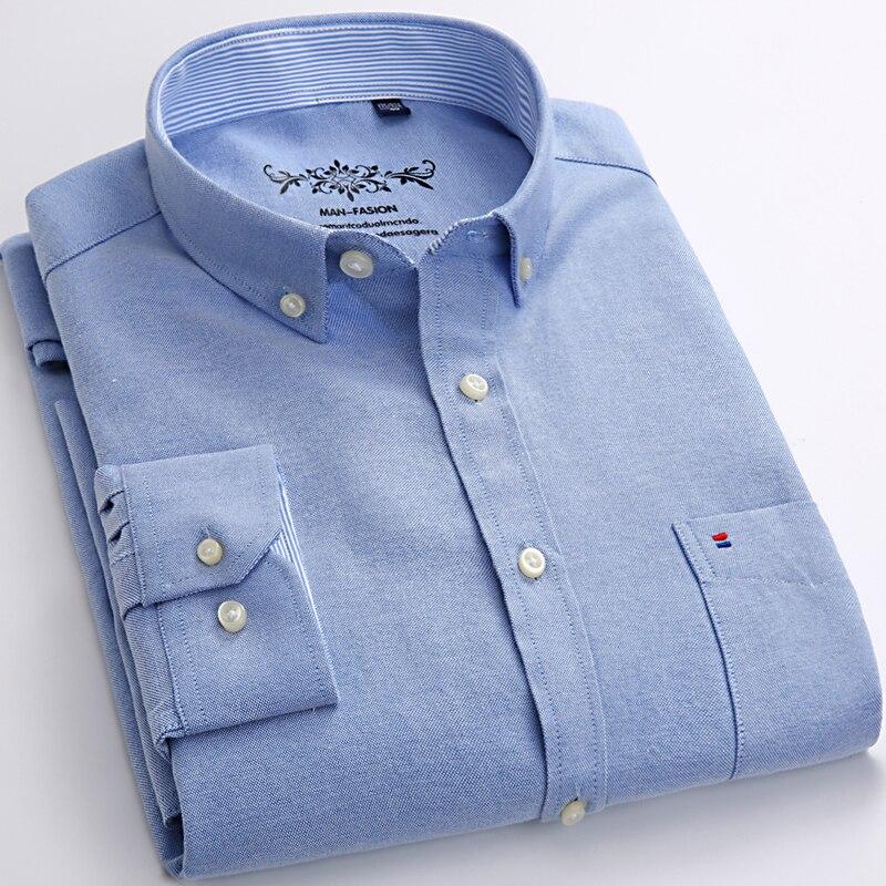 Мужская Повседневная рубашка в клетку/в полоску, теплая Рабочая Рубашка из ткани Оксфорд с длинными рукавами, накладным нагрудным карманом,...