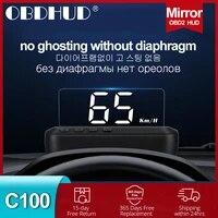 wiiyii c100 obd2 hud head up display kmh mph auto electronics obd2 hud car speed projector display driving computer 2020